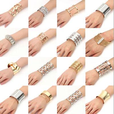 Retro Sliver Gold Wide Bangle Punk Open Cuff Charm Big Bracelet Women Jewelry Big Bangle Bracelet