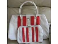 Travel Bags, hold all and matching bag for documents/passport etc, cream, red striped, zipped/buckle