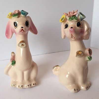 2 Vintage Pink Porcelain Dog Figurines - 1950's