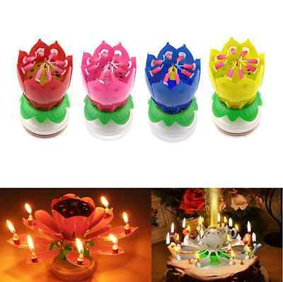 Joyful Magic Lotus Flower Birthday Party Spin Music Candle with 14 Small Candles - Magic Birthday Party
