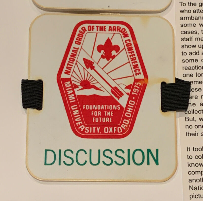 """1975 NOAC Rare Early Staff Armband Official Issued by Natl. """"Discussion"""""""