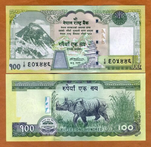 Nepal, 100 Rupees, ND (2008), P-64b, Sign. 16, UNC > Everest, Rhino