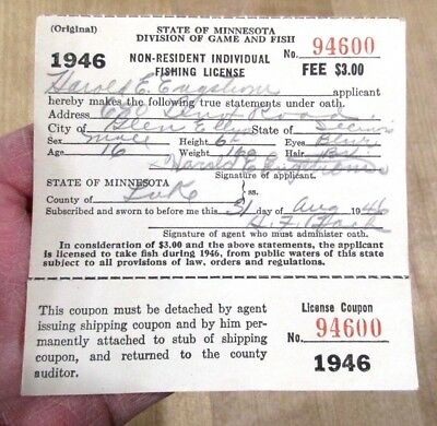 1946 August  Minnesota Non Resident Fishing License with Tab   >