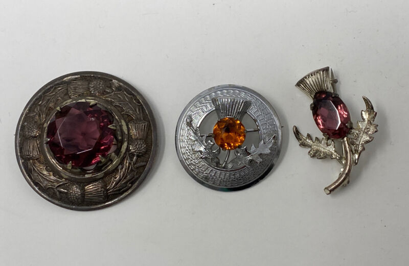 3 x Scottish Style Brooches, 1 Sterling Silver Thistle Kilt Brooches