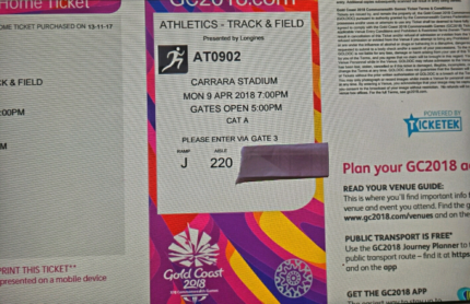 2 Adult  Tickets to Super Final Athletcs Monday 9th April Categor