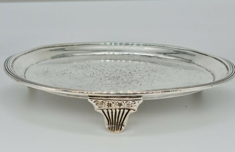 ANTIQUE GEORGE III SILVER MOUNTED CHAMPAGNE COASTER / TEAPOT STAND  LONDON 1805
