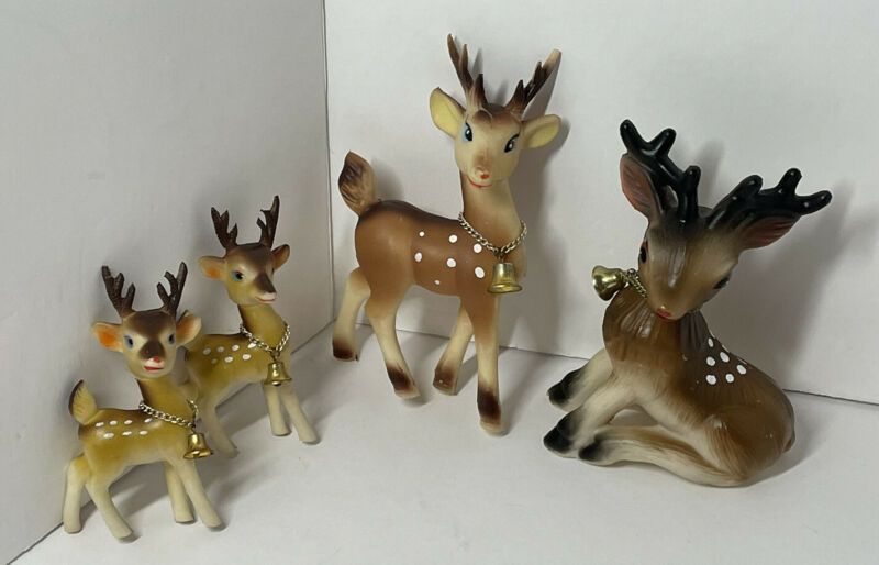 Rubber vintage Made in Japan Christmas deer family