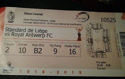 Ticket footbal Standard - R Antwerp FC 18/12/2019  1/4 Coupe Beker Belgique