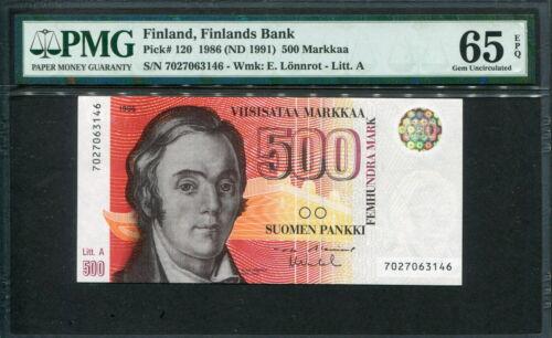 Finland 1986 ( 1991 ), 500 Markkaa, P120, PMG 65 EPQ GEM UNC
