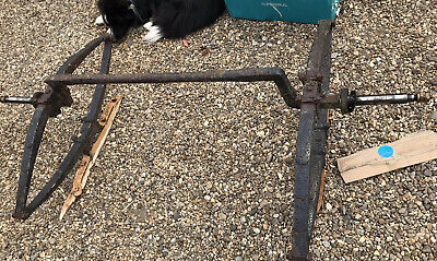 RUSTIC ANTIQUE IRON CART AXLE, LEAF SPRINGS AND HANGERS ,horse ,gypsy ,vintage,