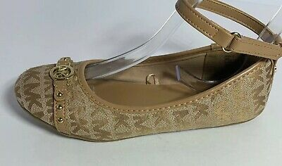 Michael Kors Christabel Tan Jacquard Leather strap Flat ballet Girls SZ 2