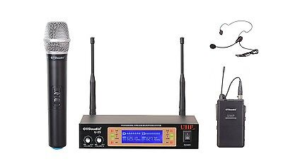 GTD Audio 2Ch UHF  Handheld Lavaliere Wireless Microphone Mic System  NEW 35HL  for sale  Shipping to Nigeria