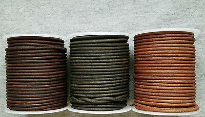 Round Leather Cord Antique Distressed Various Colors Lengths Widths 1mm 2mm -