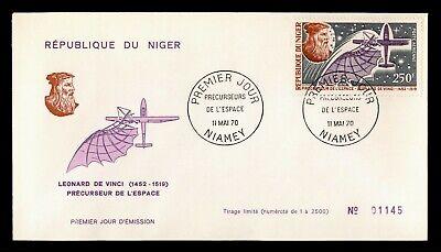 DR WHO 1970 NIGER FDC LEONARDO DA VINCI SPACE RESEARCH PIONEERS C240319