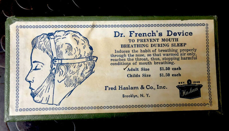 Vintage Rare Antique Dr. French's To Prevent Mouth Breathing Device, EXC++