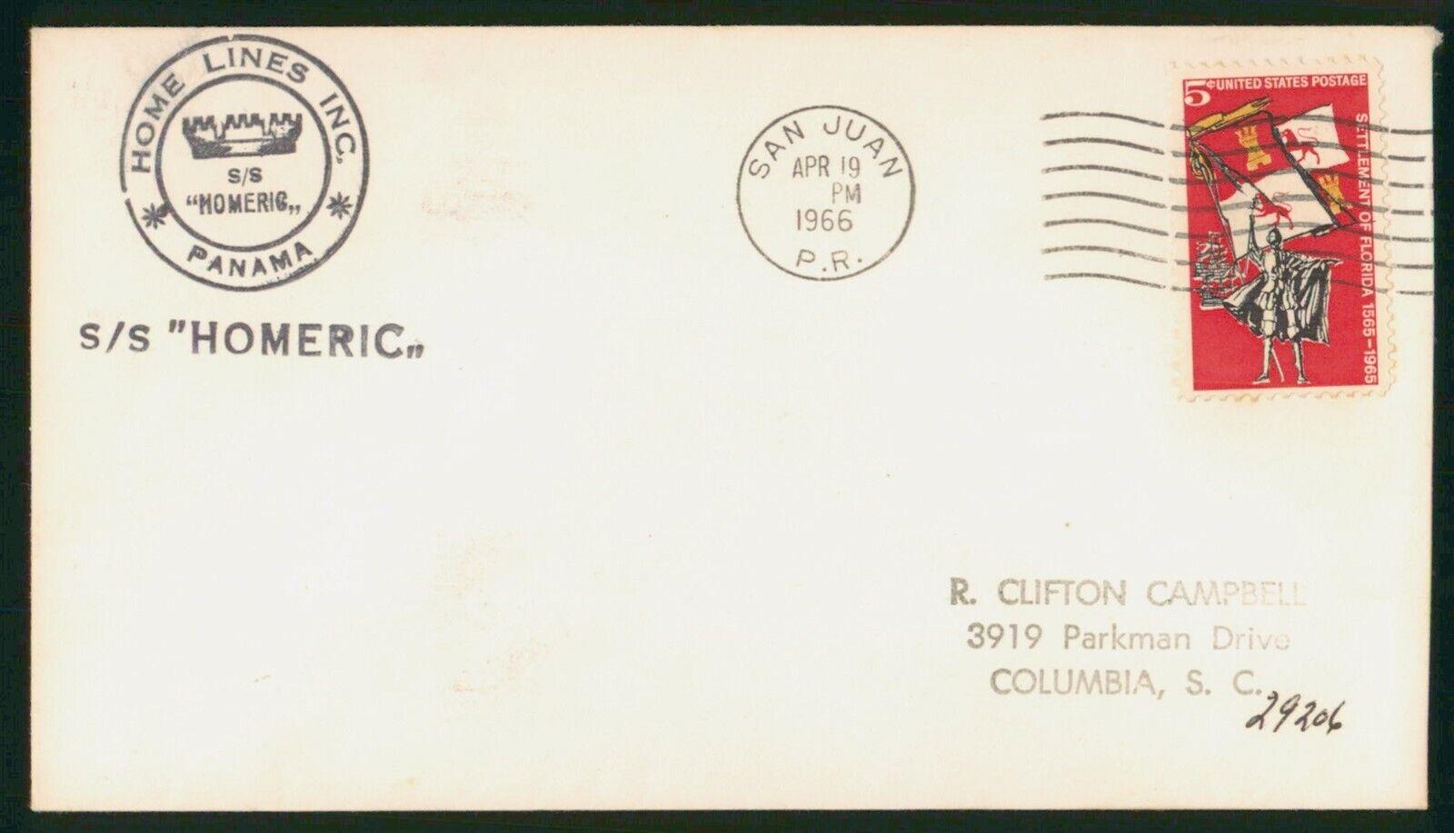Mayfairstamps US 1966 San Juan PR SS Homeric Home Lines Inc Cover Wwp 58531 - $1.00