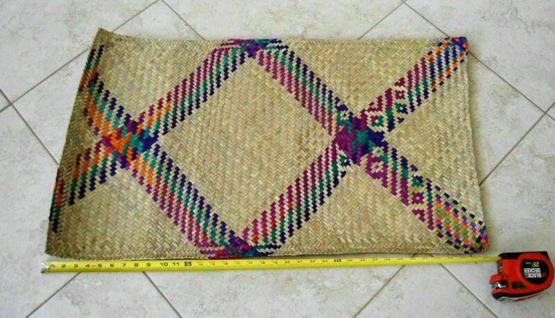 Rustic Mexican kids Petate Tule Rush Straw Rug Handwoven floor bed bedroll mat
