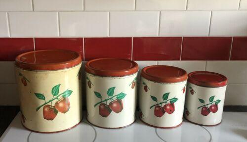 Vintage 1940s DECOWARE Tin Metal Canister Set Kitchen Decor Red Apple