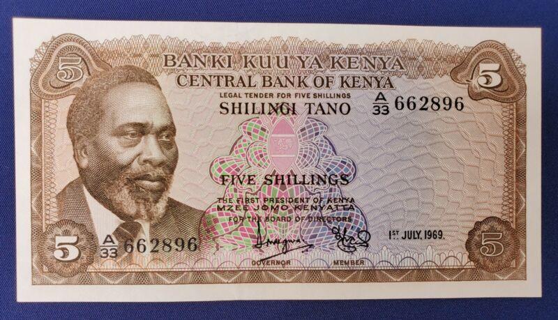 CENTRAL BANK OF KENYA 5 SHILLINGS SHILINGI 1969 -  P-6a UNC