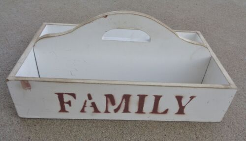 Primitive White Distressed Paint FAMILY Wood Utensil Cutlery Tray Carrier