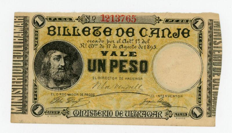 Puerto Rico … P-7b … 1 Peso … 1895 … *AU-UNC*