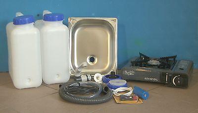 Spule Wasserkocher (Technikpaket  3.1g-Hg  Gaskocher BS 100 S anthrazit Spülbecken Spüle Wasserhahn)