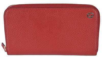 NEW Gucci 449347 Red Leather GG Plaque Zip Around Wallet Clutch