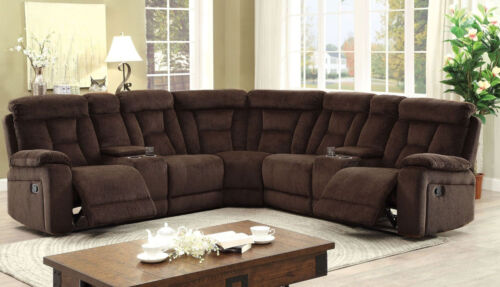 Living Room Chenille Fabric Recliner Sectional Console Brown Plush Cushion Couch