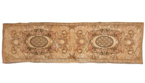 Antique French Table Runner Vintage Style Woven | 54X15 inches
