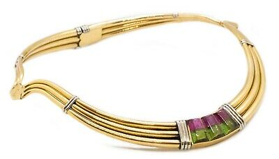 GUCCI ITALY1970 VERY RARE 18 KT GOLD CHOKER NECKLACE WITH RARE 3 TOURMALINE