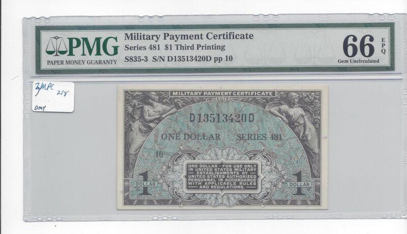 MPC Series 481 3rd Printing  PMG 66EPQ GEM UNC