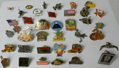 Vintage 38 Different Lapel Hat Pins Trucker Beer Kenworth Snake Jack Daniel Flag