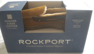 NIB $75 Mens ROCKPORT Indoor/Outdoor Slippers SUEDE LEATHER MOCCASIN Size 11 NEW