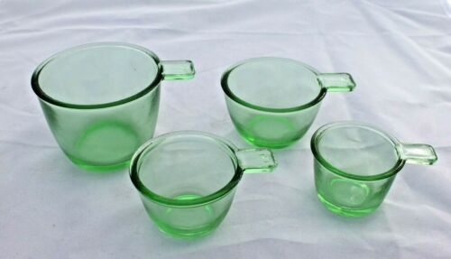 New Green Glass Measuring Cups Set of 4 Nesting Depression Retro Style