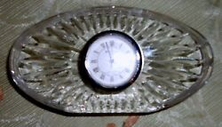 Vintage Waterford Crystal Oval Desk Clock Quartz Movement Crystal Desk Paperweig