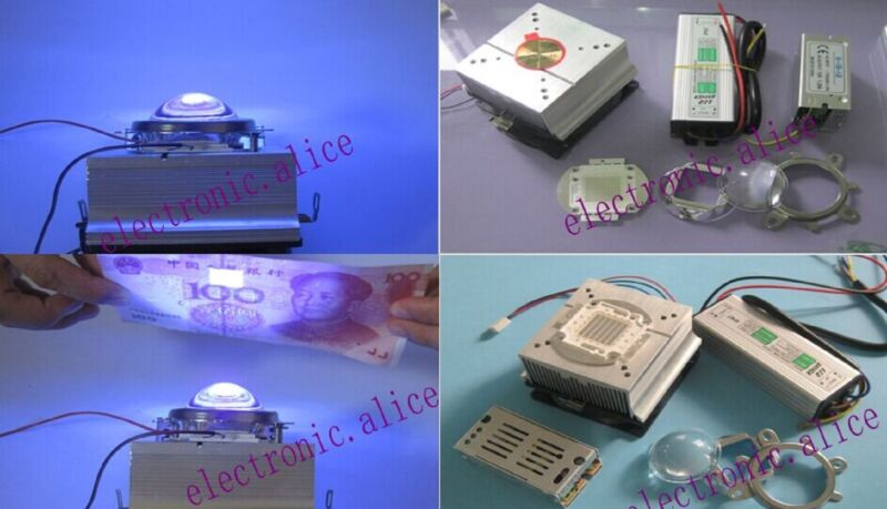 50W LED driver+50w UV 395nm chip led + heatsink+ Lens with Reflector Collimator