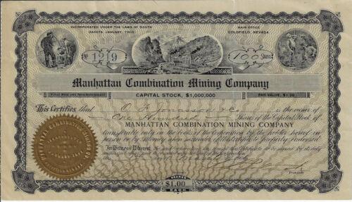 NEVADA1906 Manhattan Combination Mining Company Stock Certificate Goldfield