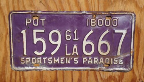 1961 Louisiana PURPLE POT 420 License Plate