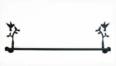 Wrought Iron Hummingbird Towel Bar Holder Bathroom Hardware NEW Black Decor 24