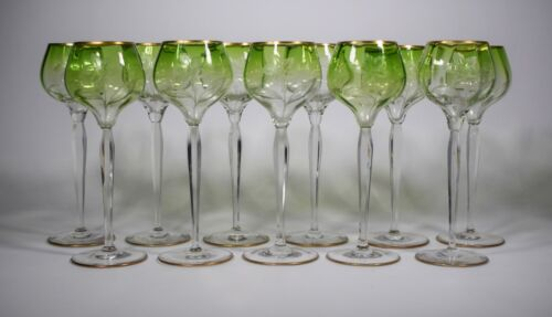 11 Fine Moser Engraved Green to Clear Wine Glasses With Lillies