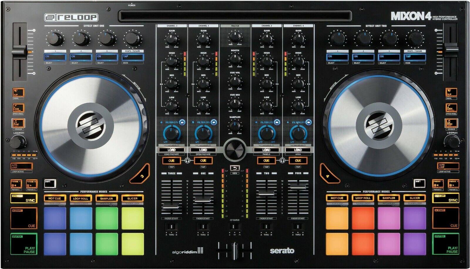 Reloop 4 Deck DJ-Controller Mixon 4 USB und OTG für iOS Android