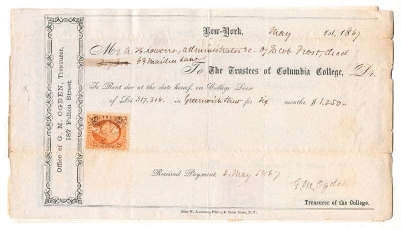 Rare 1867 Columbia College University New York City NYC rent bill +revenue stamp