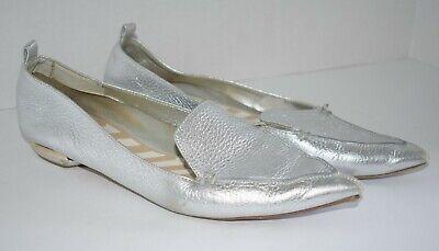 Nicholas Kirkwood Authentic Beya Silver Metallic Flats Loafers sz. 38.5 *Read*