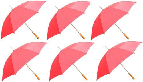 "6PK - 48"" Auto Open Red Umbrella"