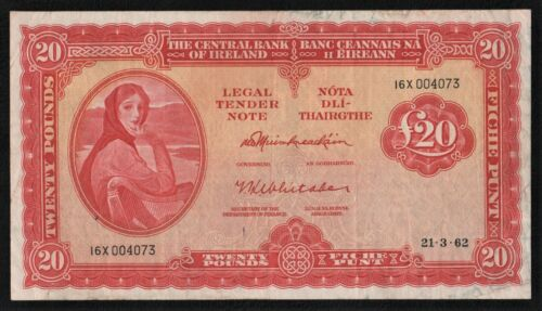 IRELAND 1962  £20 POUND  LADY  LAVERY  BANKNOTE