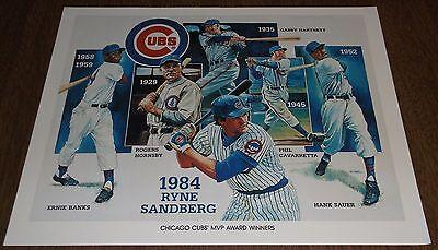 1984 Unocal Chicago Cubs Illustration Print - MVP Award Winners - Sandberg Banks