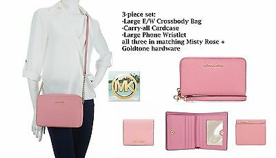 3-piece set: Michael Kors Large messenger bag+small wallet+large phone wristlet