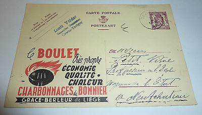 Belgien 1940 Ganzsache mit Werbung Brikett Eierbrikett Tavier Wallonien