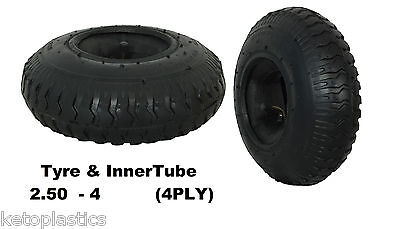 2.50 - 4 Tyre With Inner Tube ( 220 x 65 ) Sack Truck Trolley Bent Valve (4 PLY)