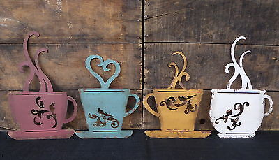 Coffee Cup Silhouette Sign Aqua Red   Kitchen Cafe Diner Espresso Metal Wall Art